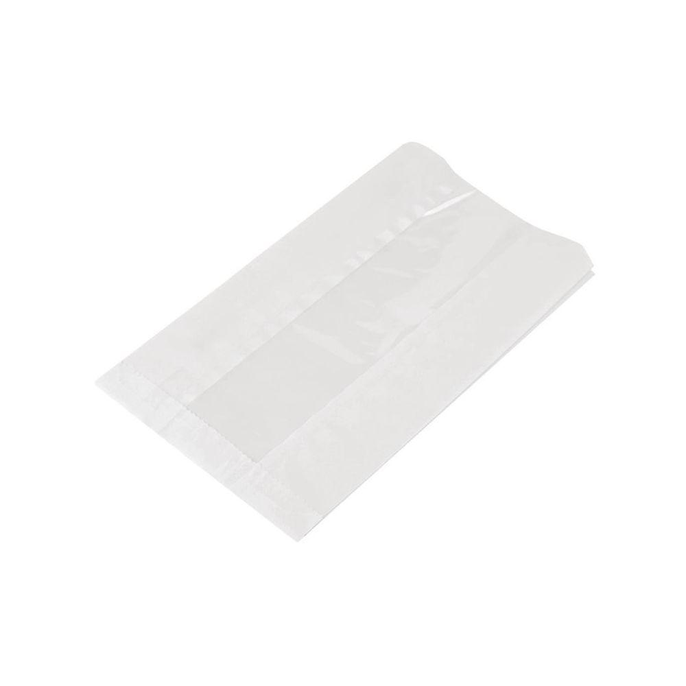 Materiel Chr Pro Grands Sacs Snack Chaud en Papier Glassine Compostable avec Fenêtre NatureFlex - Lot de 500 - Vegware - 0 cm Pap