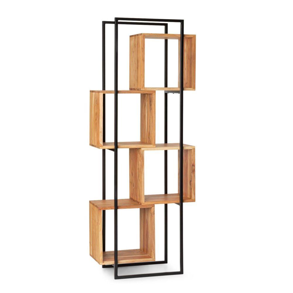 Besoa Besoa Rotterdam Etagère de rangement en bois d'acacia  - 4 niveaux-  70 x 180 x 33,5 cm - Cadre fer noir