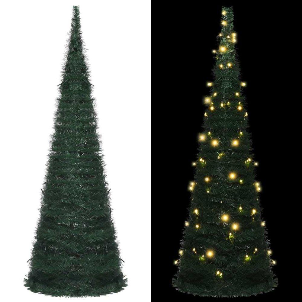 Vidaxl vidaXL Sapin de Noël artificiel avec guirlandes et LED Vert 180 cm