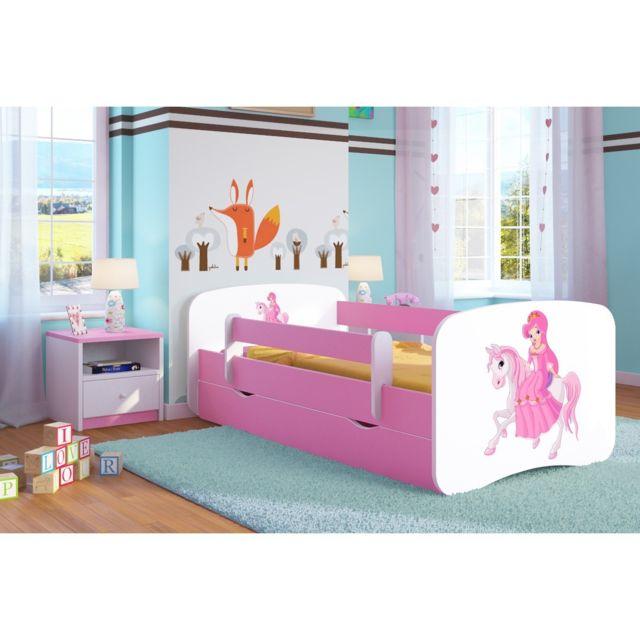 lit enfant princesse sur son cheval 70 cm x 140 cm avec barriere de