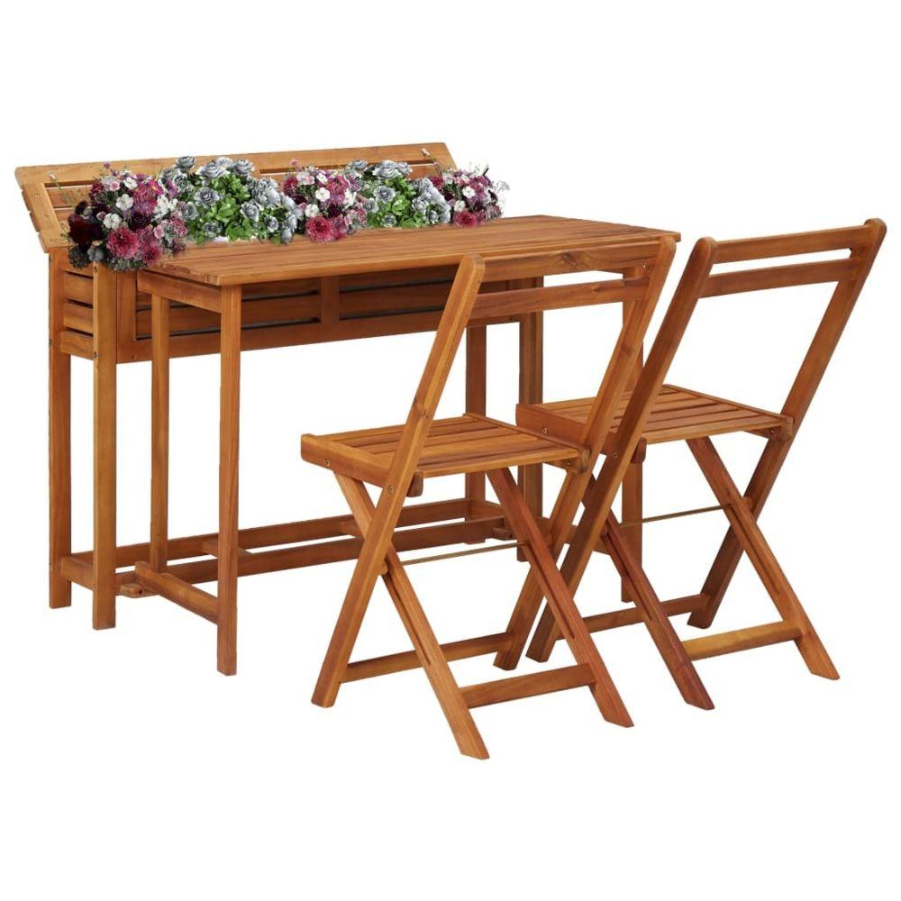 Vidaxl vidaXL Table de balcon avec 2 chaises de bistro Bois d'acacia massif