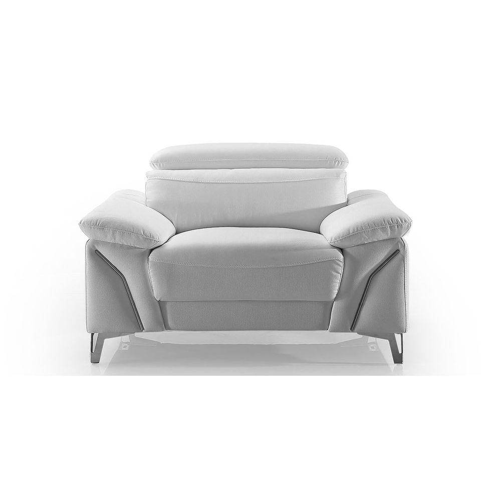 La Maison Du Canapé Fauteuil Design en cuir MILAN - {habillage_canape_cuir} - Blanc