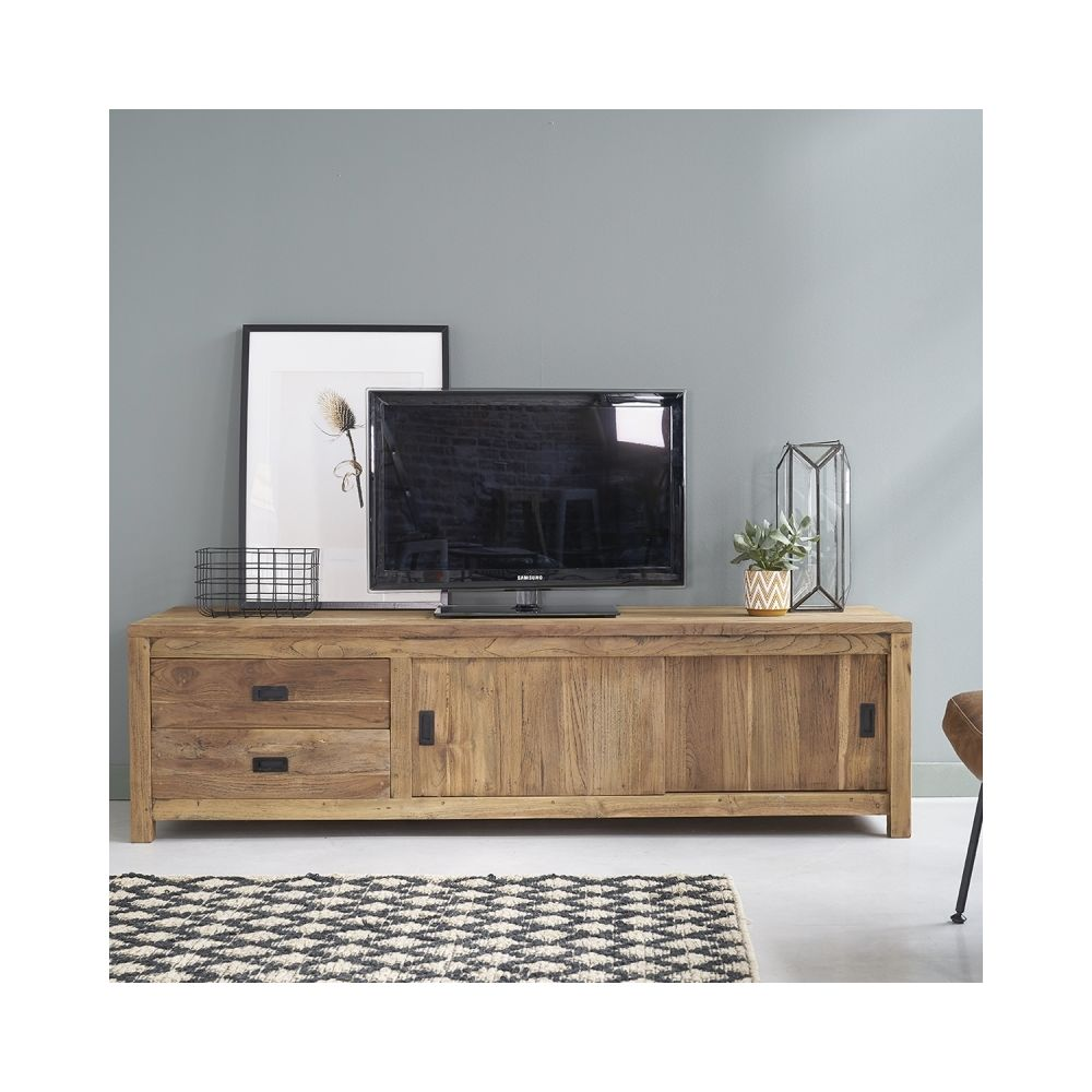 Bois Dessus Bois Dessous Meuble TV en bois de teck recyclé 2 tiroirs