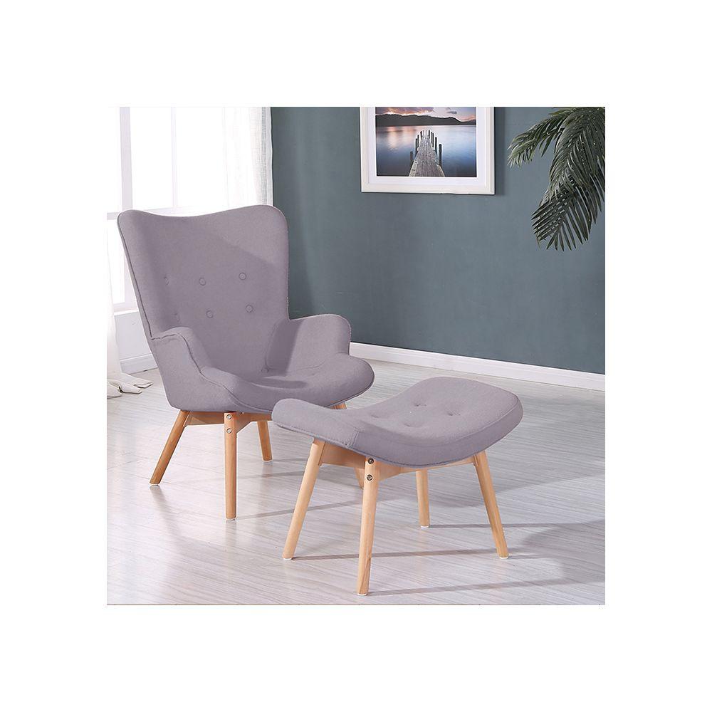 Designetsamaison Fauteuil scandinave gris - Stockholm