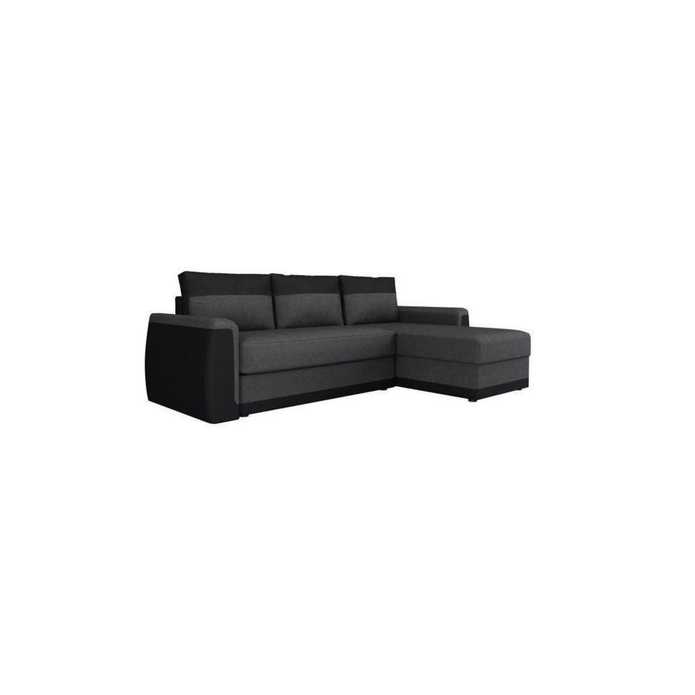 Sans Marque JAMES Canape dangle convertible 3 places + Coffre de rangement - Simili noir et tissu gris anthracite - L 230 x P 142 cm