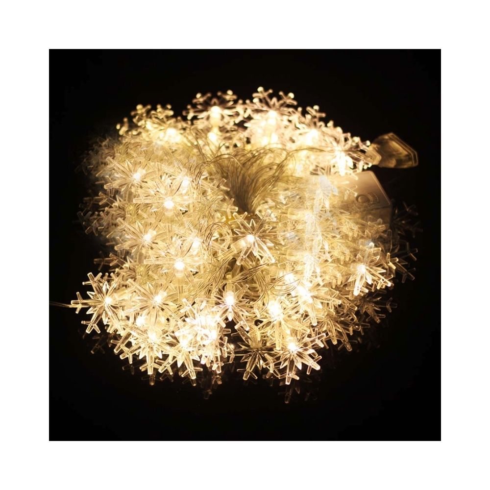Wewoo Guirlande blanc Lumières de décoration de chaîne de forme de flocon de neige de 10m 70 LED avec l'interface d'extension,