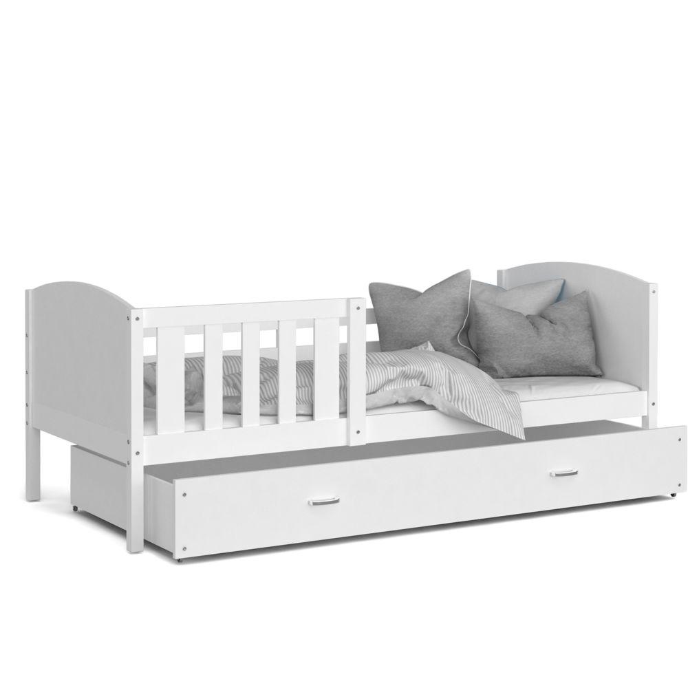 Kids Literie Lit enfant Tomy 90x190 blanc blanc livré avec tiroir, sommier et matelas en mousse de 7cm offert