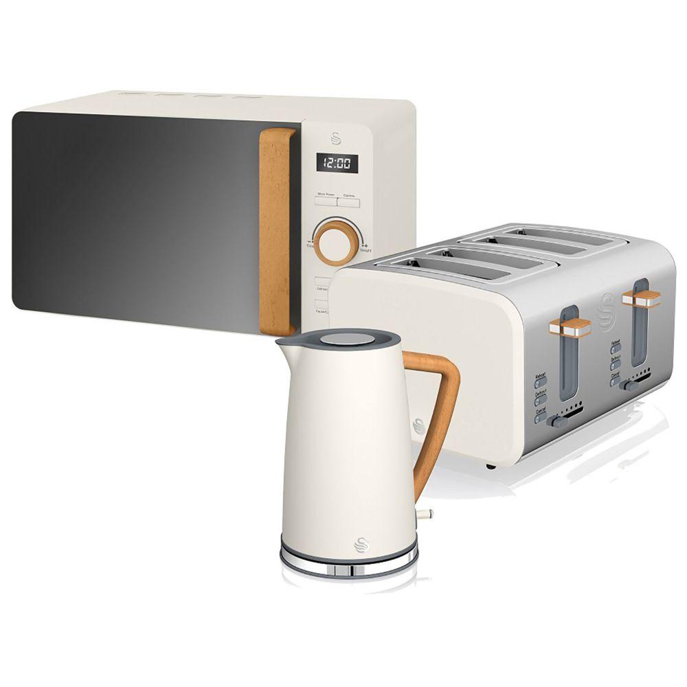 Swan Set petit-déjeuner bouilloire grille-pain micro-ondes 20L Nordic Blanc SWAN STRP1061WHTNEU