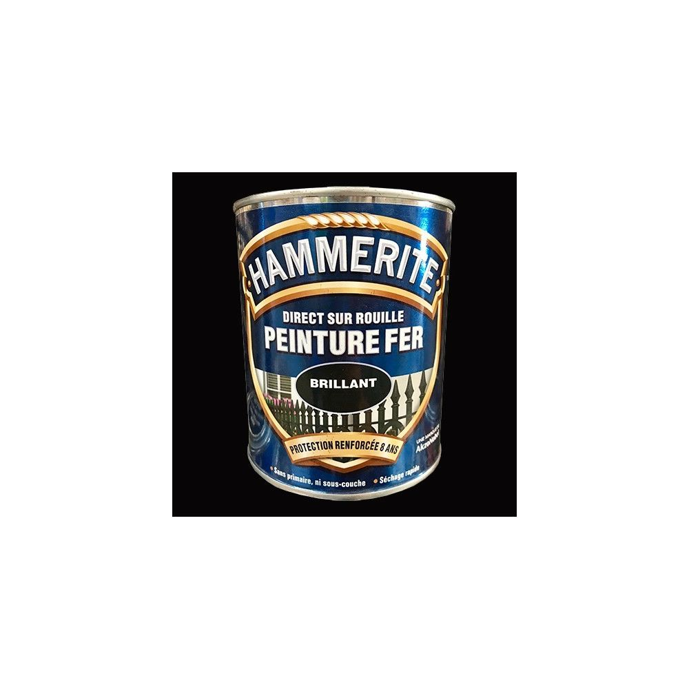 Hammerite HAMMERITE Peinture Fer Direct sur Rouille Noir Brillant