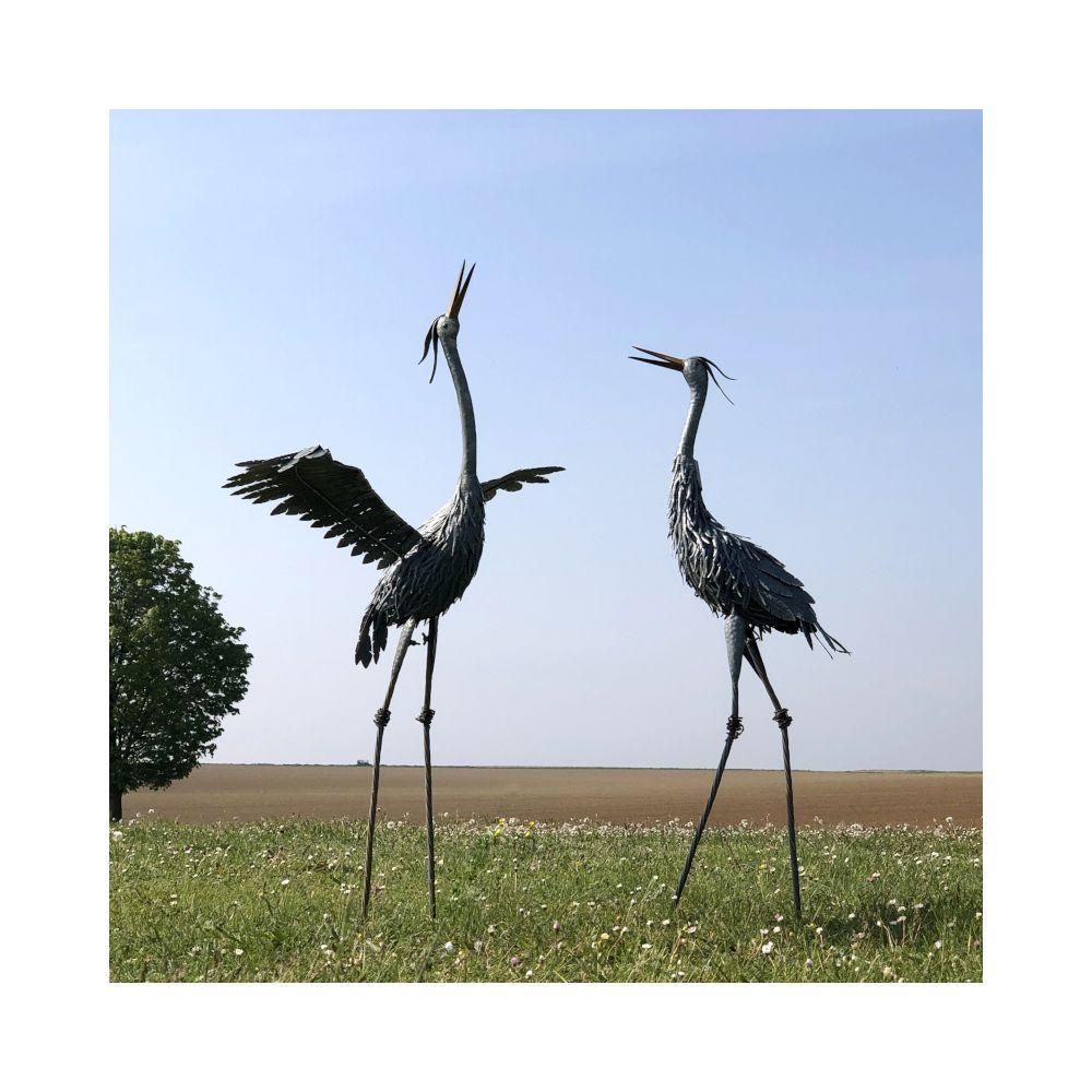 L'Originale Deco Animaux Oiseau Héron Ibis Flamant Rose Décoration Déco Jardin Fer