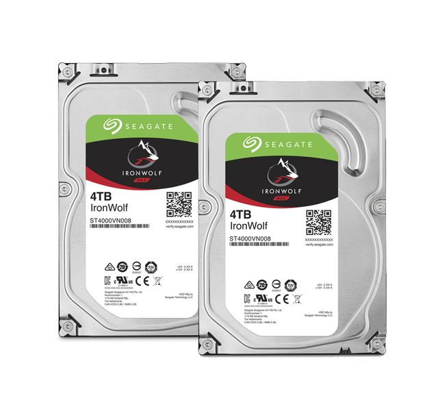 Seagate - Lot de 2 IronWolf 4 To 3.5'' SATA III (6 Gb/s) Cache 64 Mo - Disque Dur interne