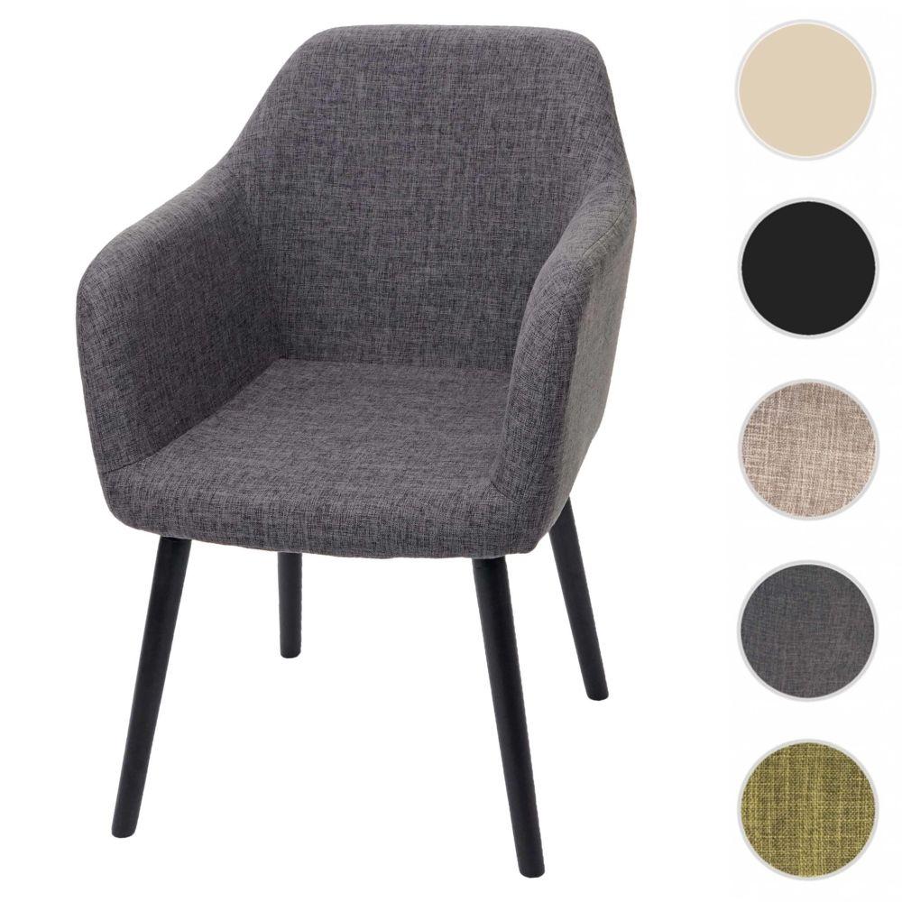 Mendler Chaise de salle à manger Malmö T381, fauteuil, design rétro des années 50 ~ tissu, gris, pieds foncés