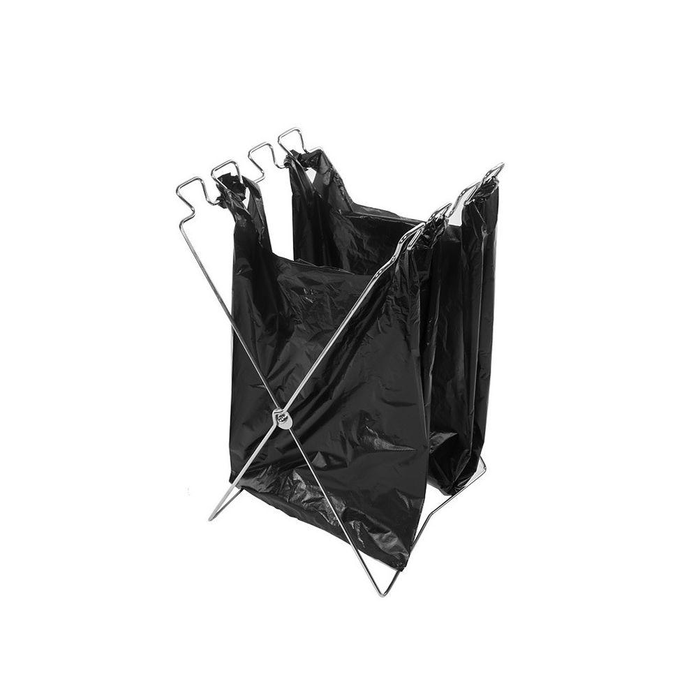 Wewoo Cintre pliable de sacs à ordures d'acier inoxydable de camping extérieur, taille: 58 * 32 cm
