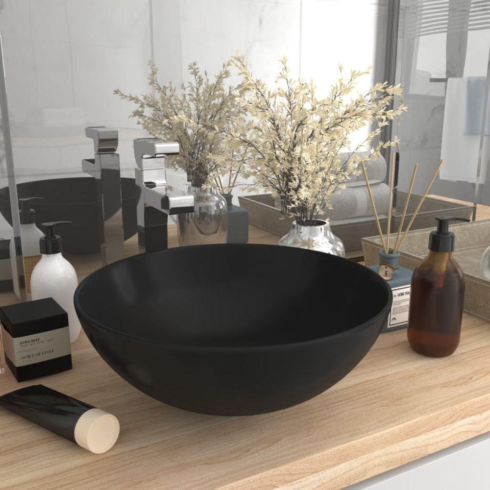 Vidaxl vidaXL Lavabo de salle de bain Céramique Noir mat Rond