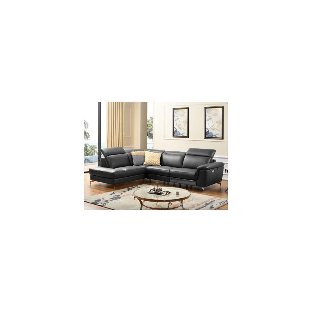 Linea Sofa Canapé d'angle relax électrique en cuir OLBIA - Noir - Angle gauche