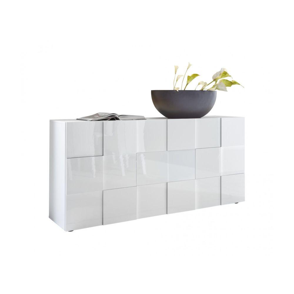 Subleem SUBLEEM Buffet 3 portes en bois Altamura blanc laqué brillant