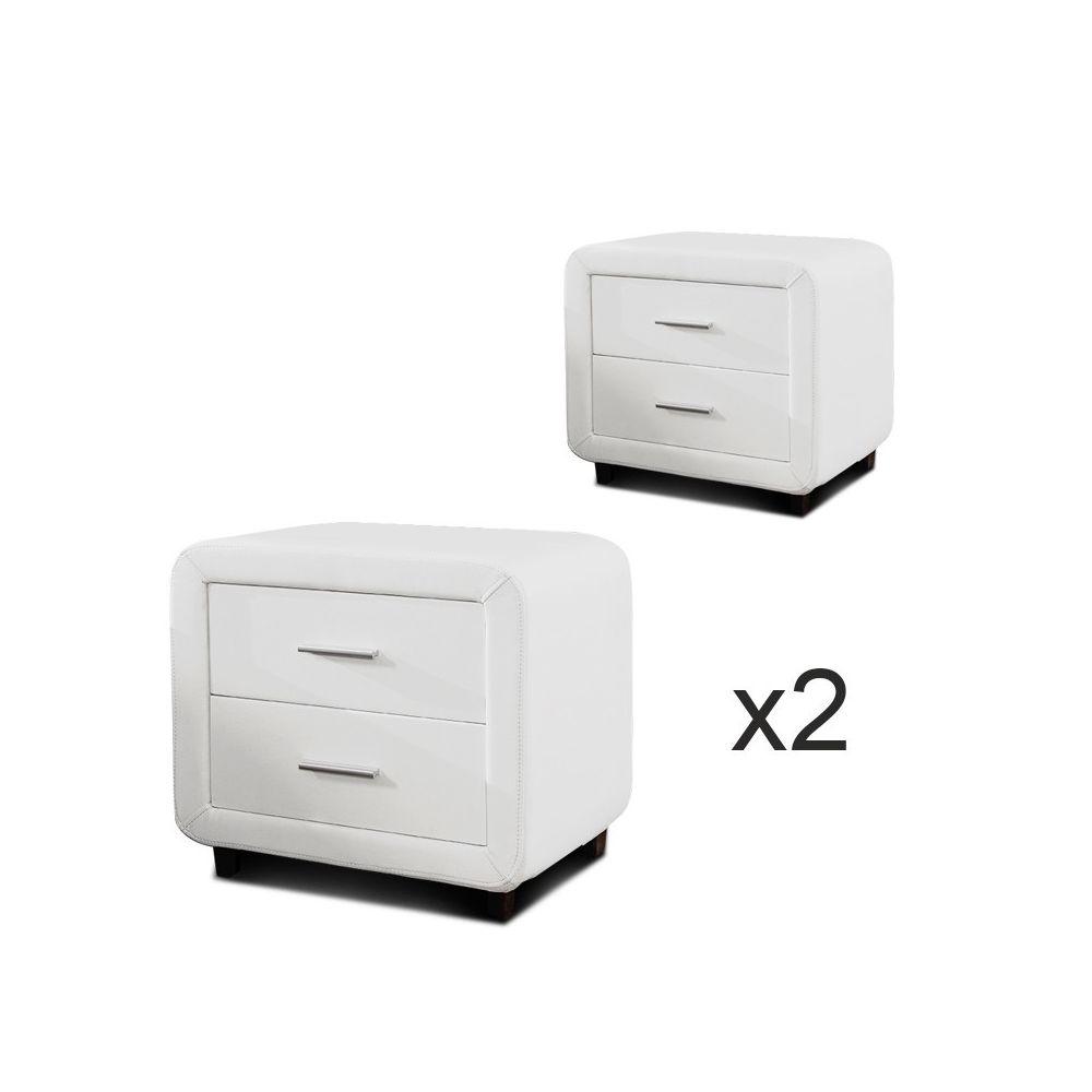 Meubler Design Table chevet design ZEST Lot de 2 Blanc