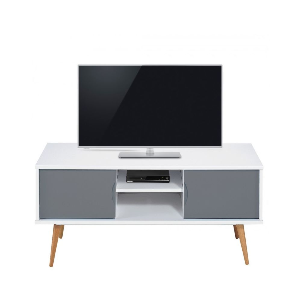 Beaux Meubles Pas Chers Meuble TV Blanc Gris 2 Portes 4 Pieds