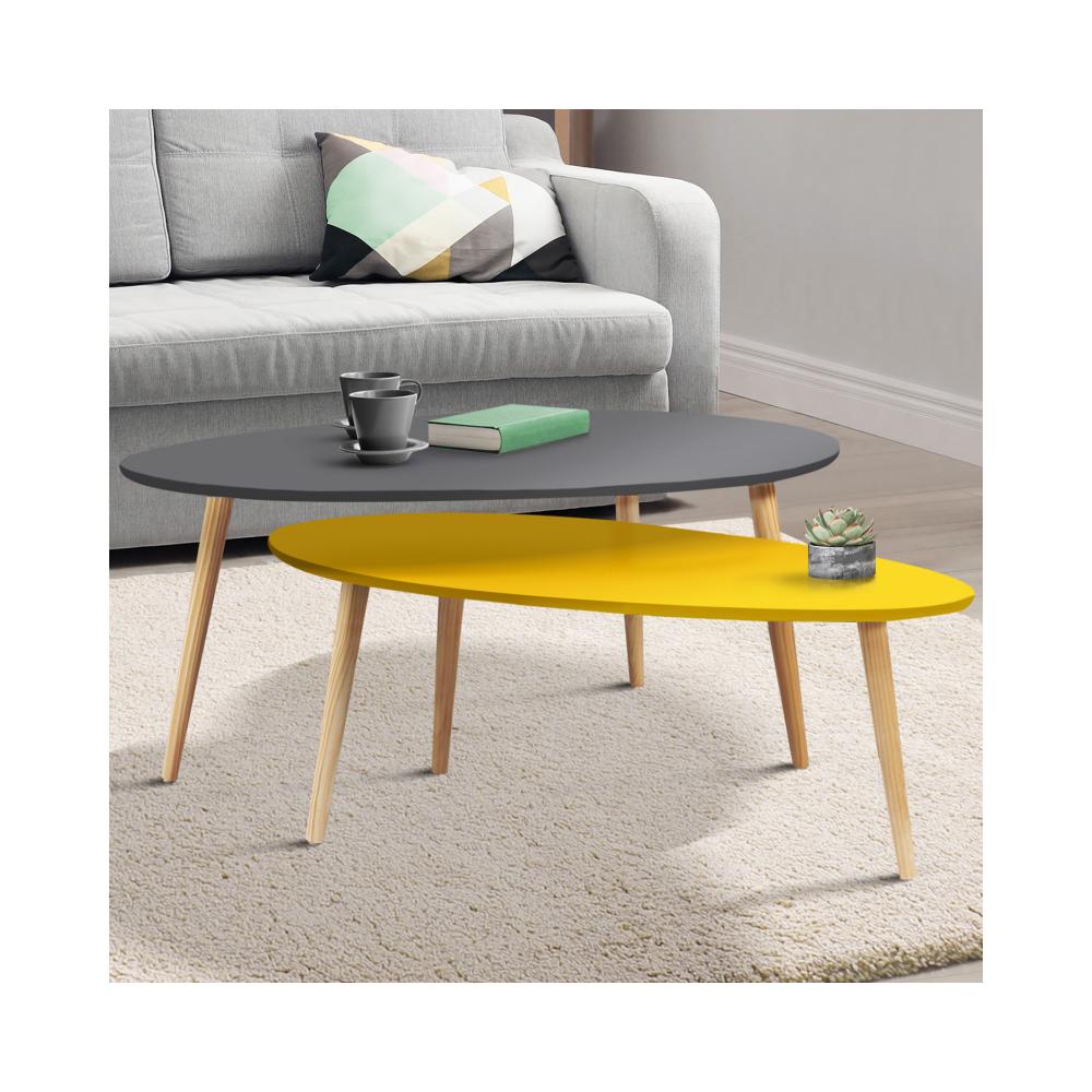 Idmarket Lot de 2 tables basses gigognes laquées gris jaune scandinave