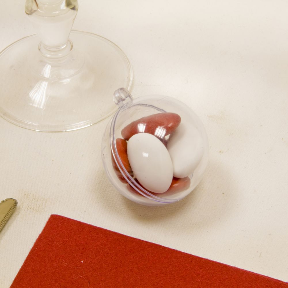 Visiodirect Lot de 60 boules transparentes en plastique - Dim : 4,5 cm