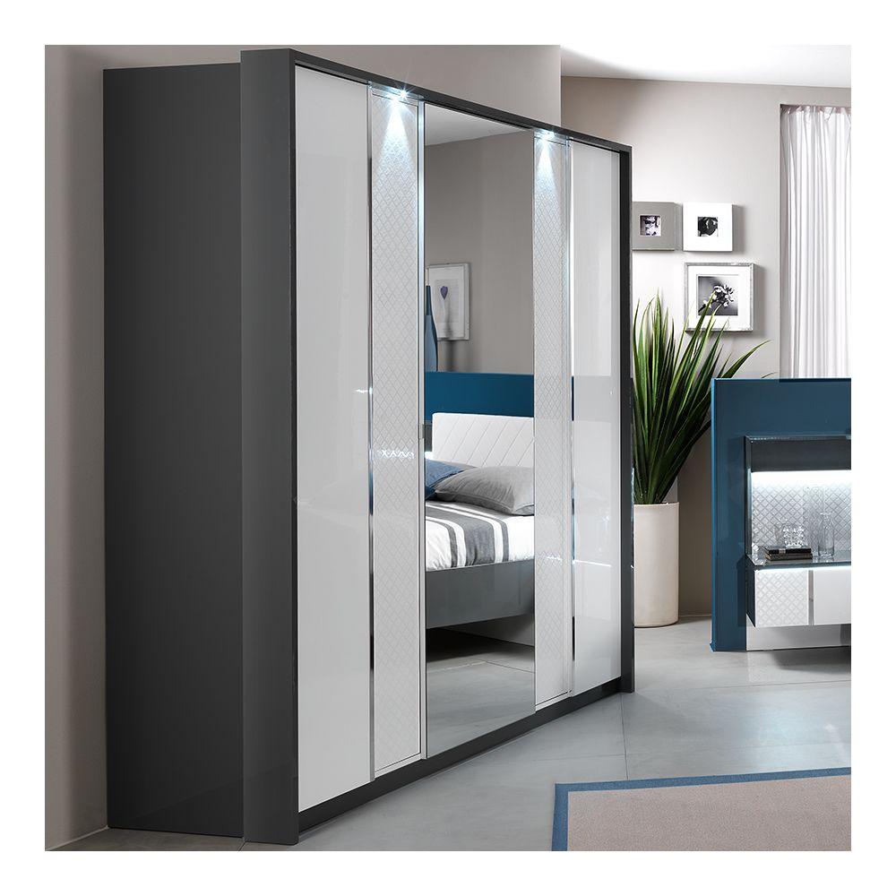 Nouvomeuble Armoire 200 cm design blanc et gris URSULA