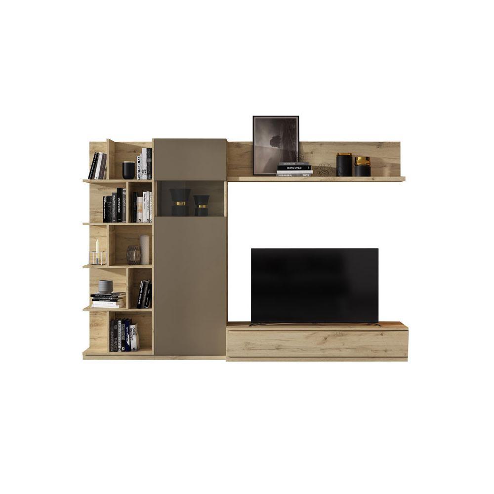 Tousmesmeubles Composition TV Chêne blond/Laque marron - CAMELIA