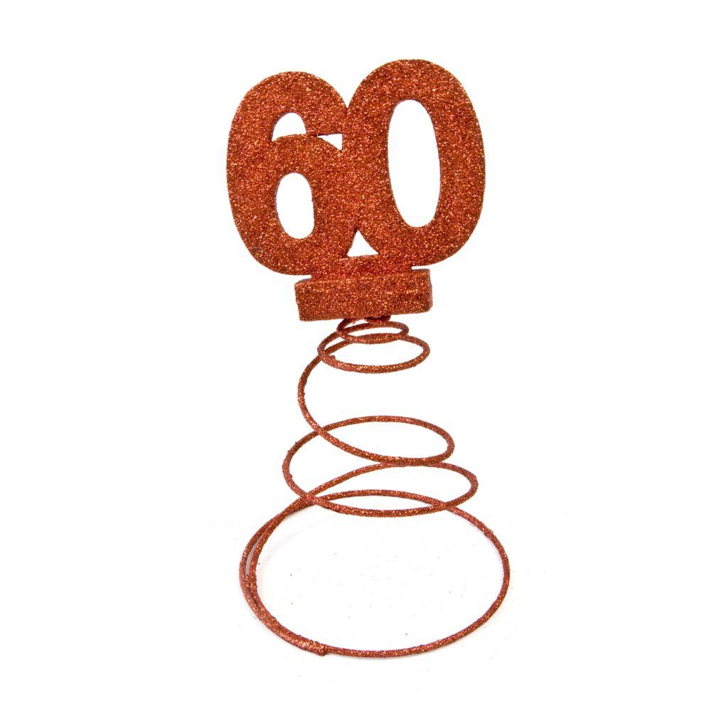 Visiodirect Lot de 10 Centres de table pour anniversaire 60 ans - Rouge pailletée