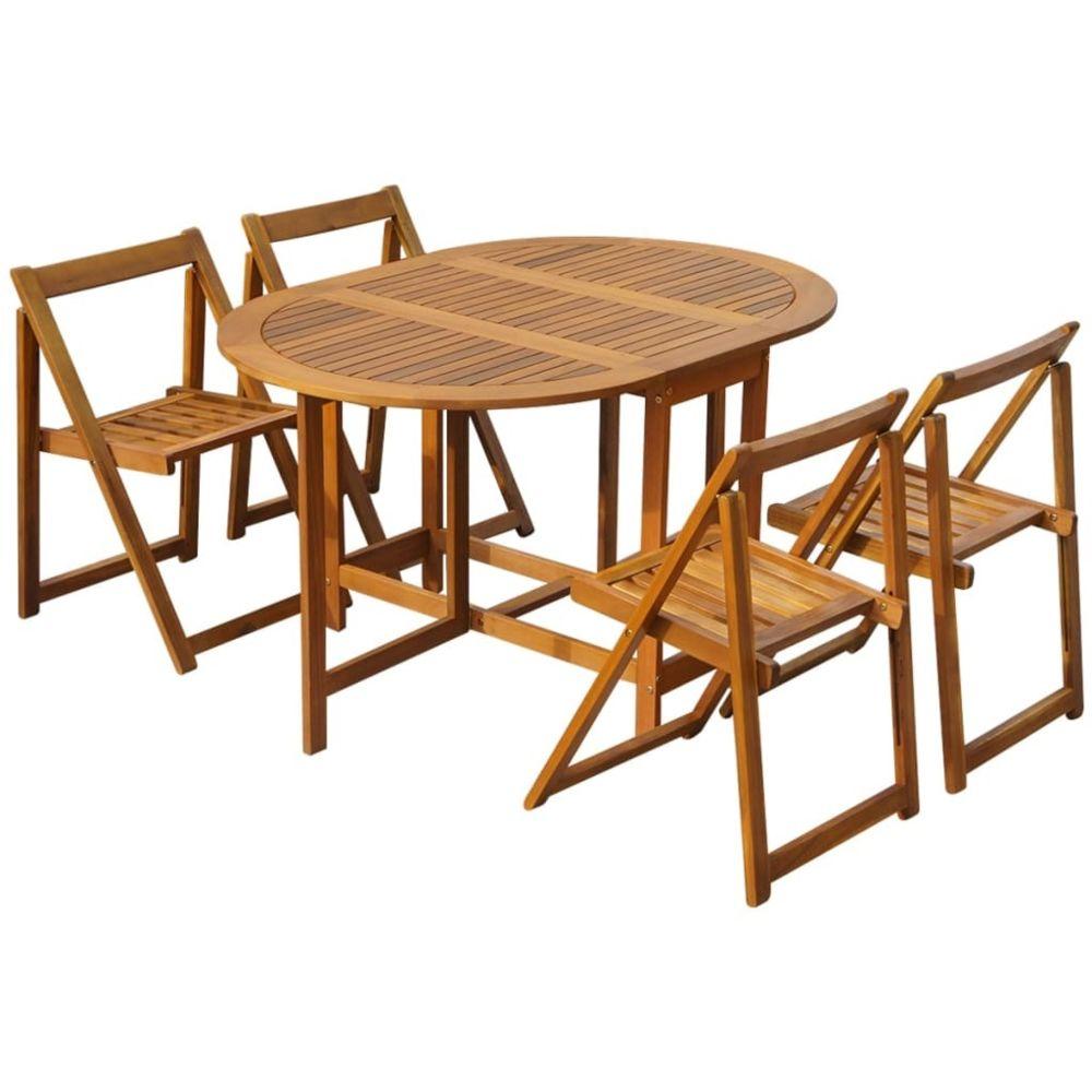 Vidaxl vidaXL Mobilier à dîner d'extérieur pliable 5 pcs Bois d'acacia solide
