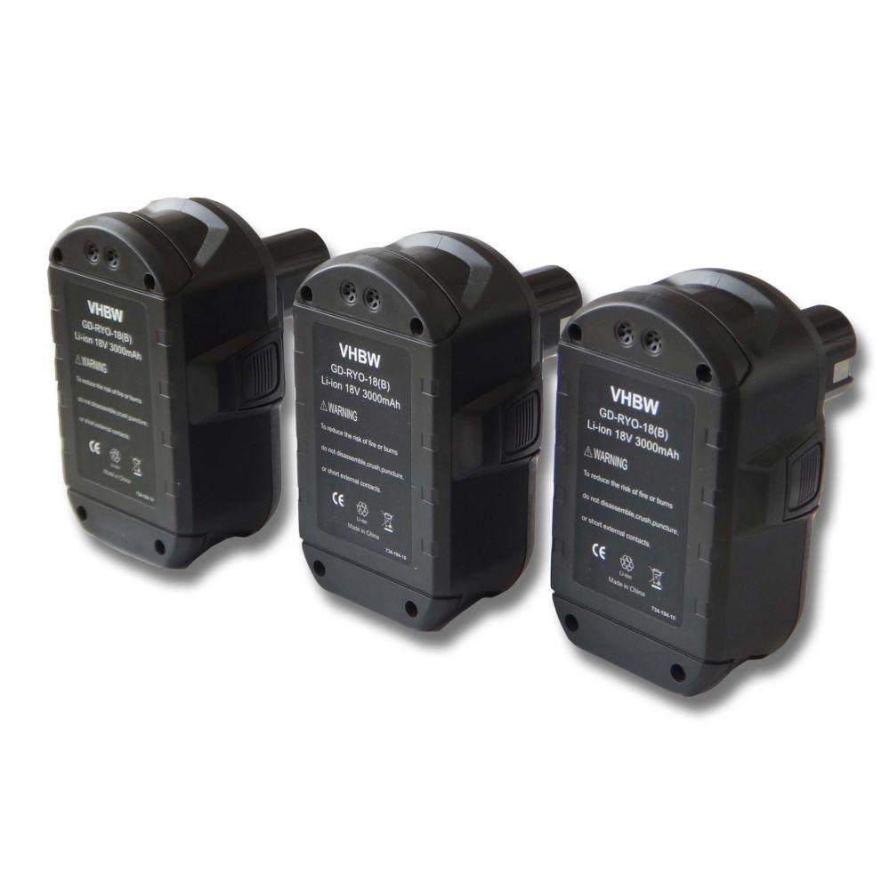 Vhbw Lot 3 batteries Li-Ion vhbw 3000mAh (18V) pour outils Ryobi CCC-180L, CCD-1801, CCG-1801M, CCG-180L, CCS-1801, DM, CCS-1