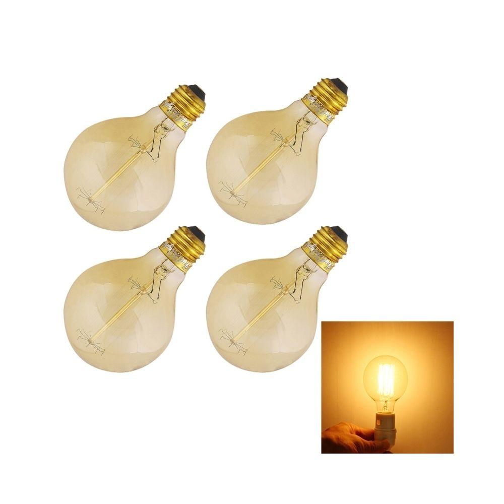 Wewoo Ampoule blanc 4 PCS 0823 E27 40 W 400 LM ronde incandescente Edison tungstène filament ampoules lampe, AC 220V-240V chau