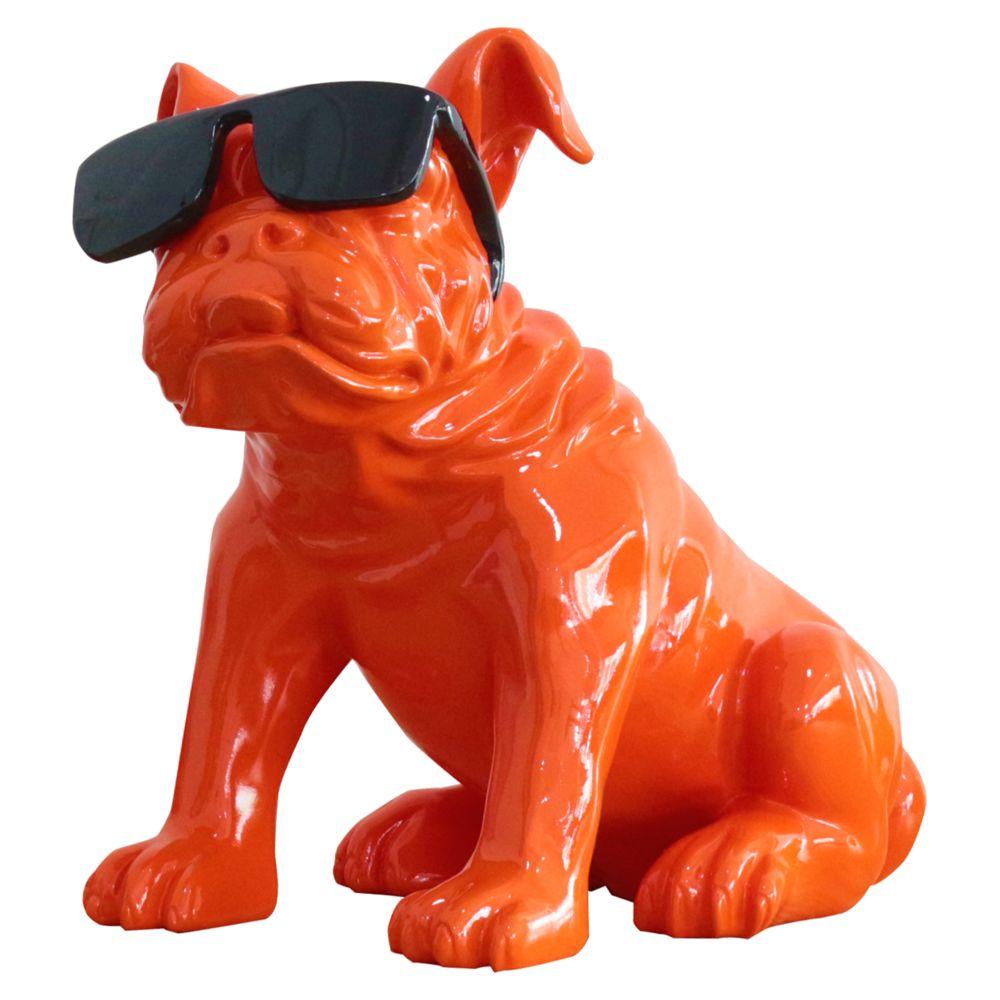 Kuateh Figurine Bulldog Kuatéh Khal 40x23x40 cm Orange Assis