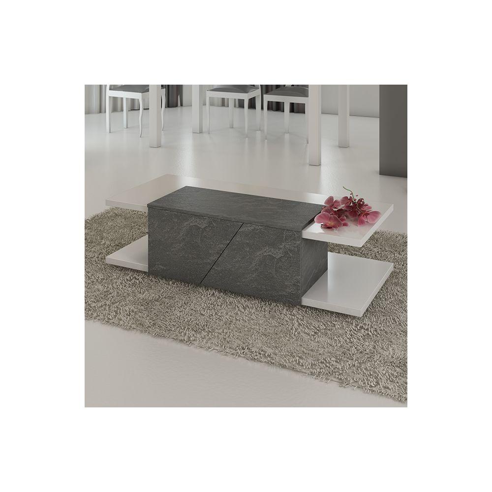 Sofamobili Table basse blanc laqué design JOSHUA