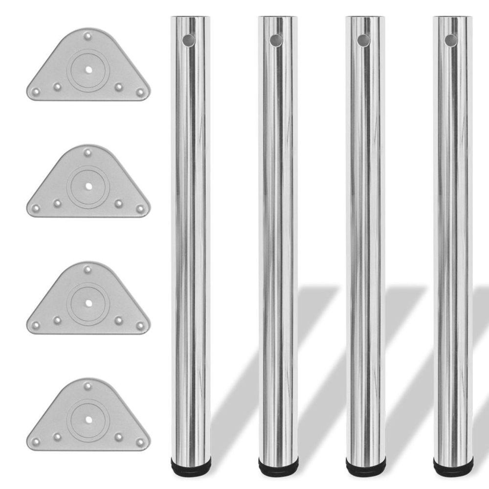 Vidaxl vidaXL 4x Pied de Table Réglable en Hauteur 710 mm Chromé Pied de Meuble Socle