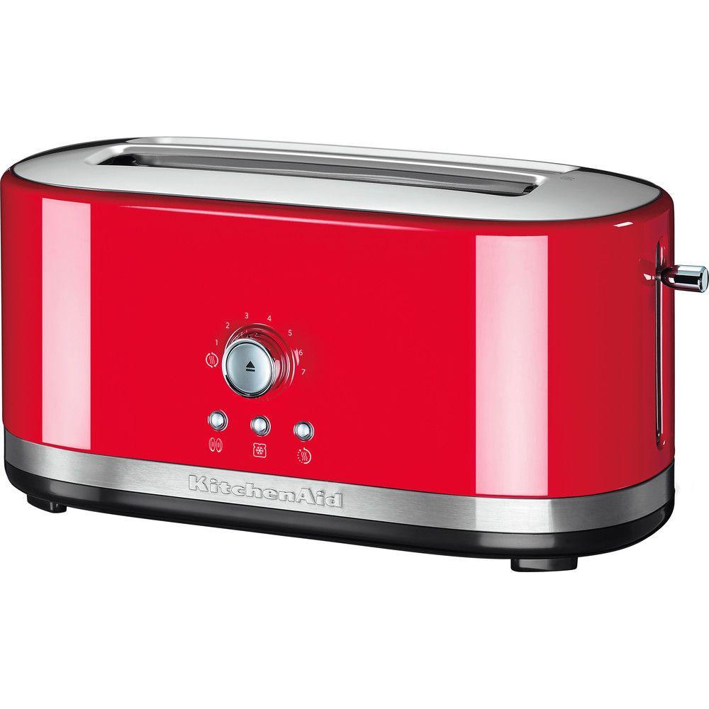Kitchenaid grille pain avec 2 fentes longues 1800W rouge empire argent