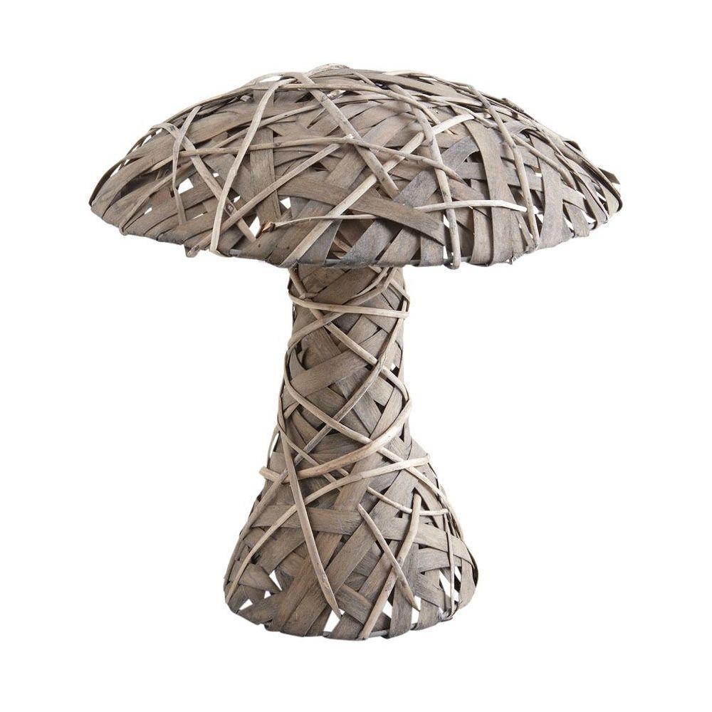 Aubry Gaspard Champignon décoratif en osier gris et bois