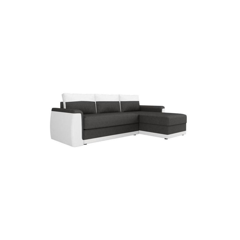 Sans Marque JAMES Canape dangle convertible 3 places + Coffre de rangement - Simili blanc et tissu gris anthracite - L 230 x P 142 c
