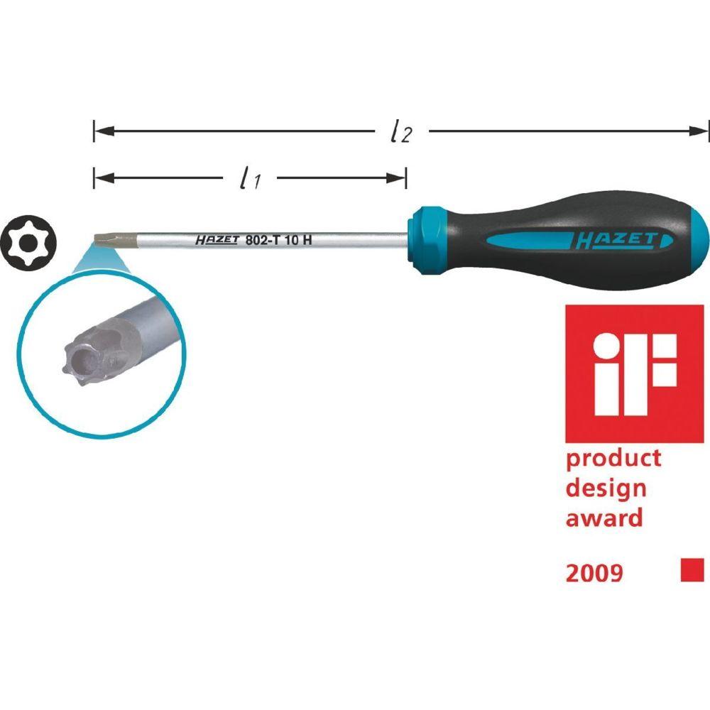 Hazet Hazet Tournevis HEXAnamic - Profil TORX « tamper résistant » - Taille: T 15 H - Longueur totale: 179 mm - 802-T15H