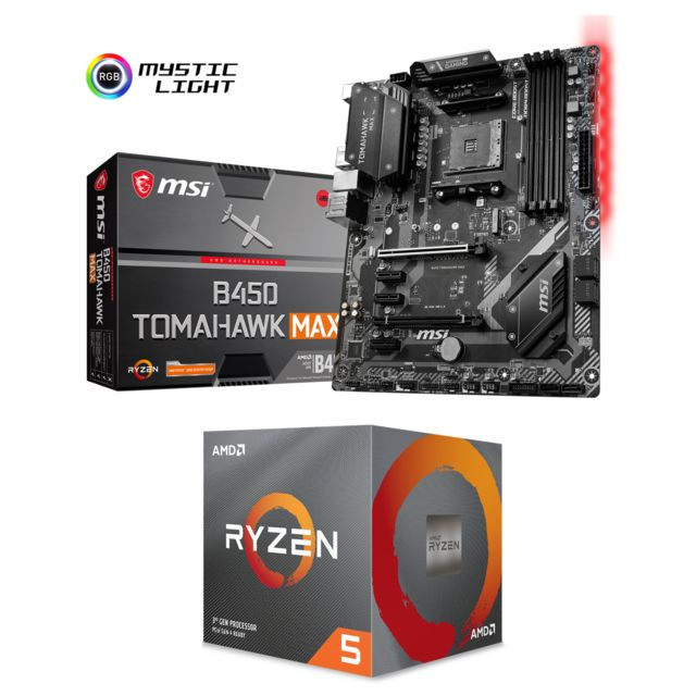 Amd - Ryzen 5 3600 Wraith Stealth Edition - 3,6/4,2 GHz + AMD B450 TOMAHAWK MAX - ATX - Kit d'évolution