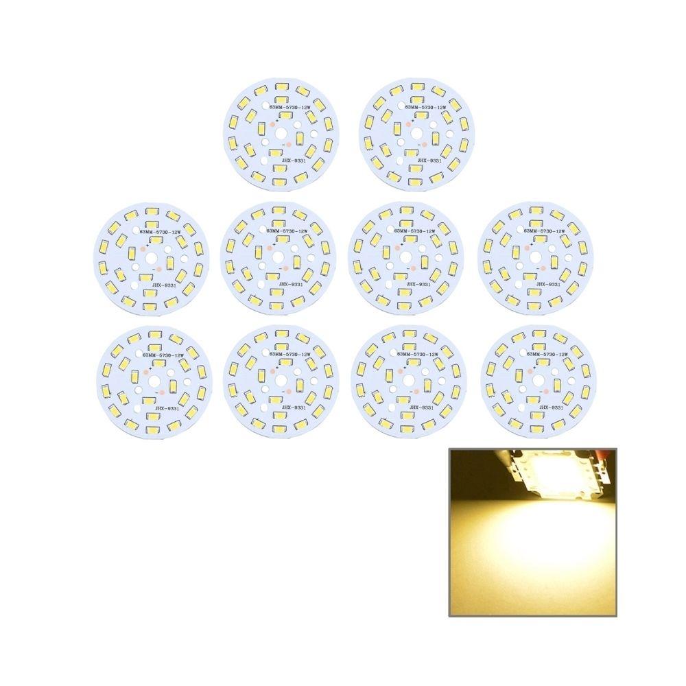 Wewoo Module LED blanc 10 PCS 12W 24 LEDs SMD5730 1080 LM 3000-6500K Panneau de base en aluminium, Diamètre: 63mm chaud