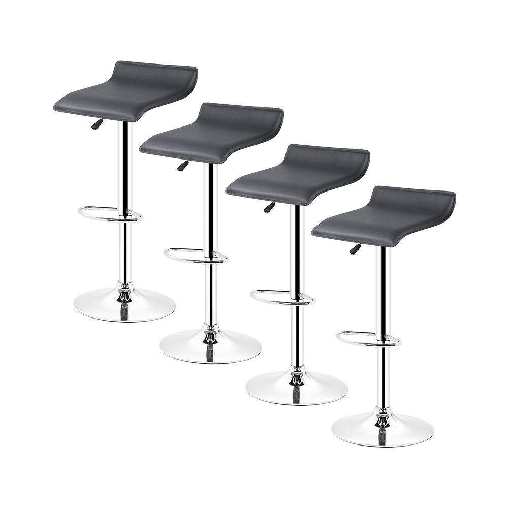 Ltppstore Lot de 4 Tabourets De Bar en PU style contemporain, rotation à 360 °, réglable en hauteur, NOIR