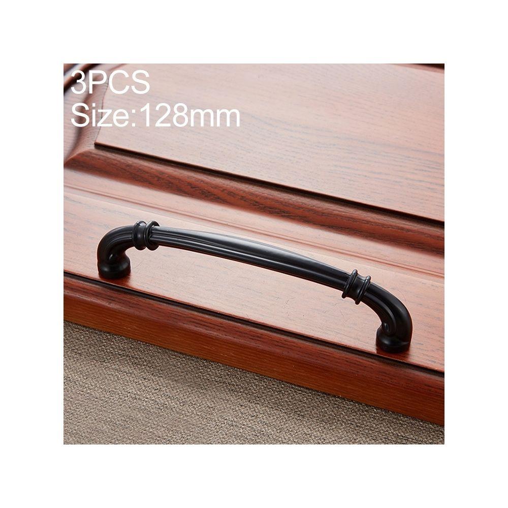 Wewoo Poignée d'armoire 3 PCS 6569-128 de porte à tiroir en bois de pêche noir mat