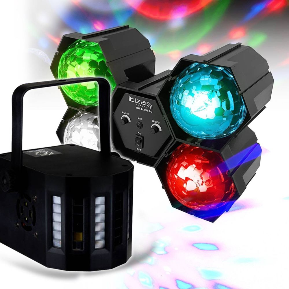 Ibiza Light Pack Jeux de lumières Enfants Soirée DJ animation Séquenceur à LEDs RVB effets ASTRO Ibiza Light JDL4-ASTRO + DERBY