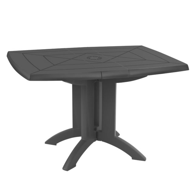 Grosfillex - Table de Jardin Vega pliante  Anthracite 118 x 77 cm - Tables de jardin