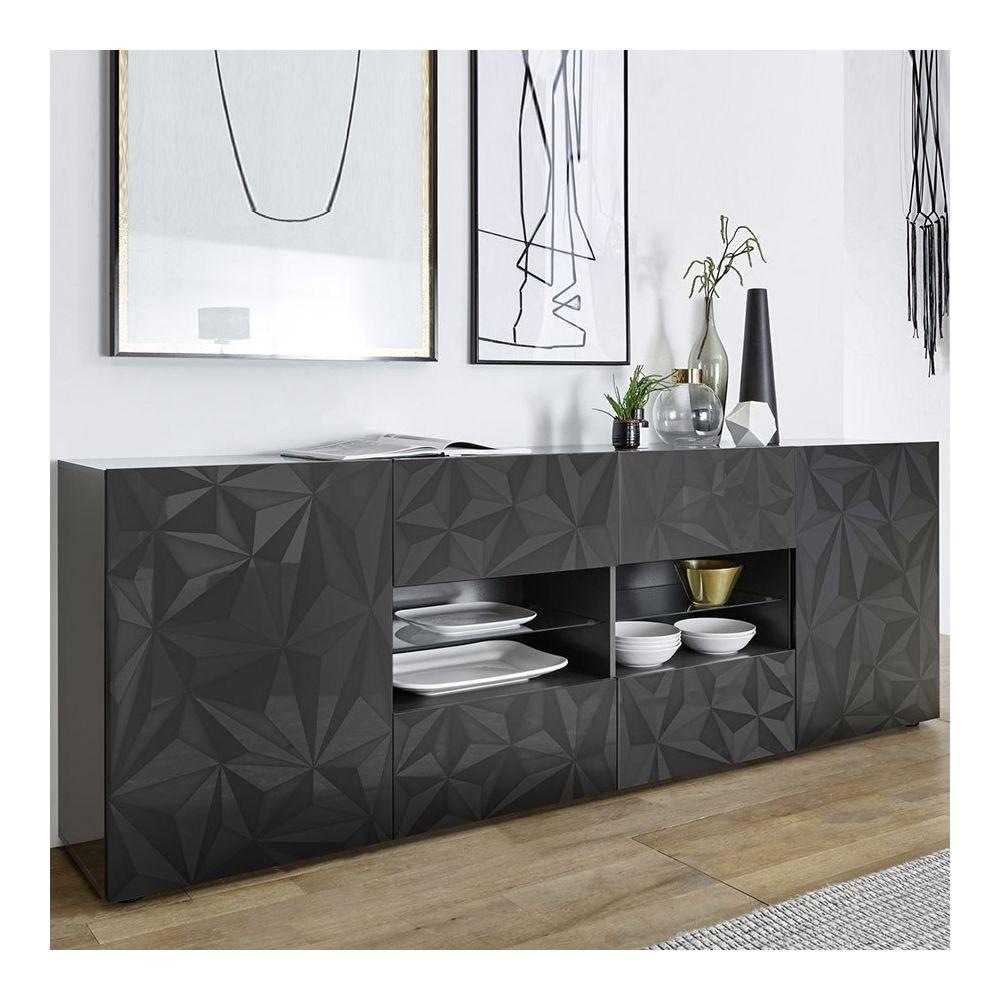 Sofamobili Enfilade 240 cm design gris laqué ANTONIO 3
