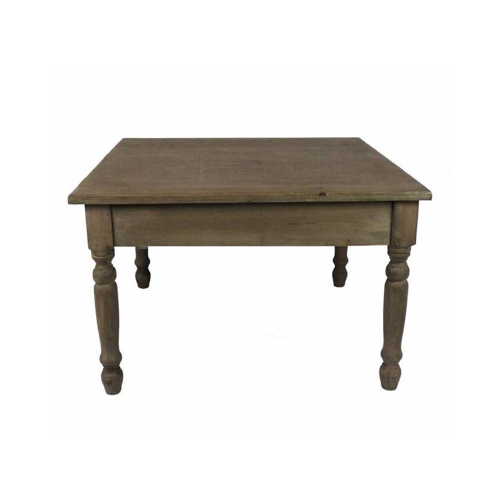 L'Héritier Du Temps Charmante Table Basse Console de Salon Bout de Canapé Desserte d'Appoint Forme Carrée en Bois Patiné Marron 45x70x70cm