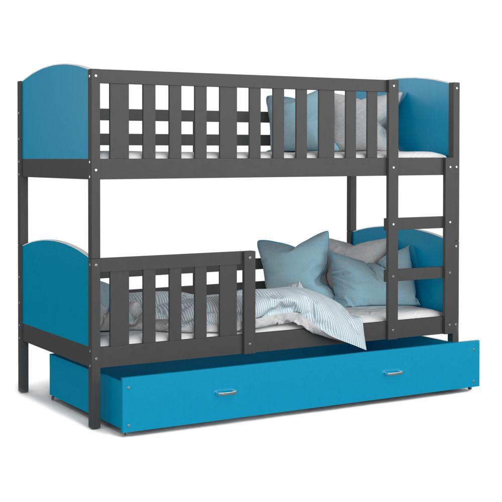 Kids Literie Lit superpose Tomy 90x190 gris bleu livré avec tiroir,2 sommiers et 2 matelas en mousse de 7cm offerts