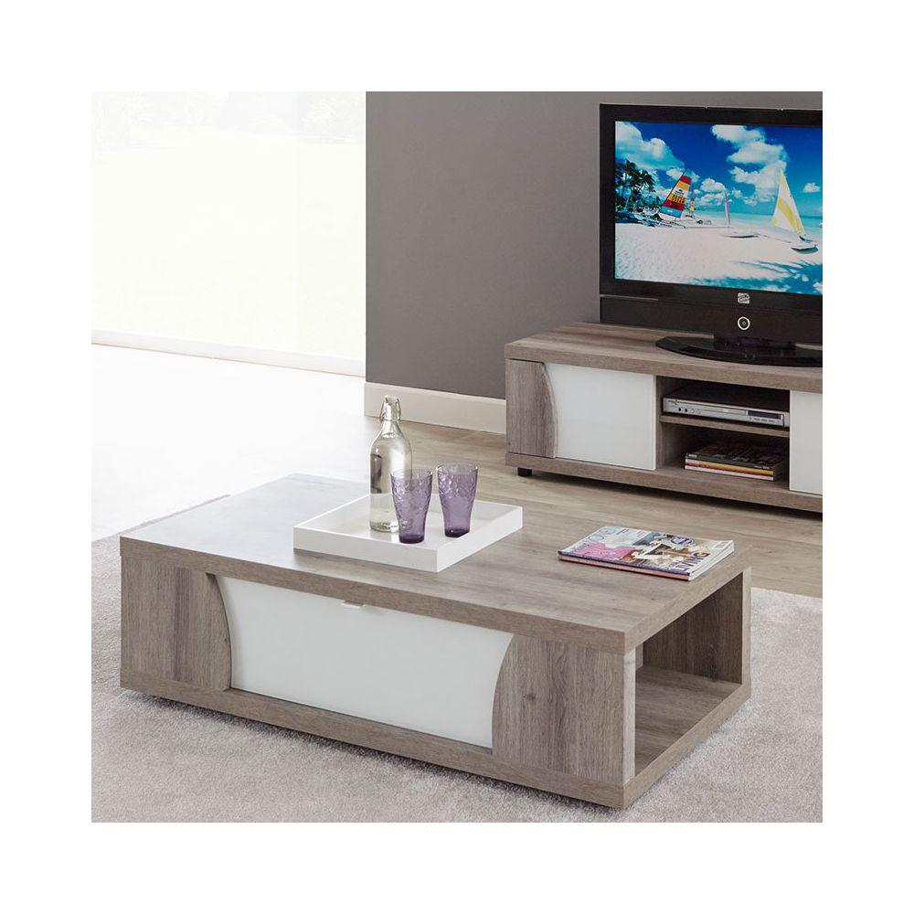 Sofamobili Table basse couleur bois et laqué blanc moderne PAULA