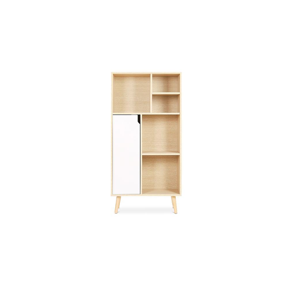 Privatefloor Bibliothèque Buffet de style scandinave avec 6 compartiments - Bois