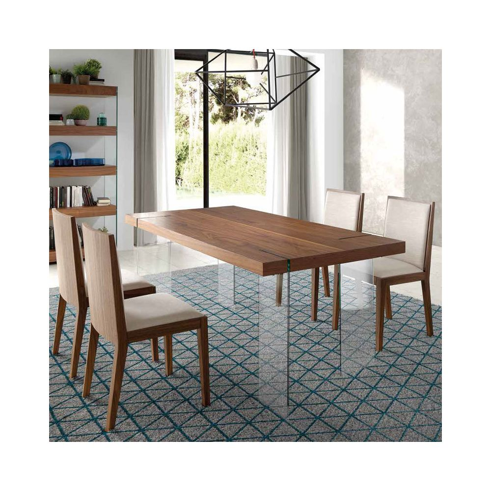 Nouvomeuble Table à manger design couleur noyer et verre CRONOS