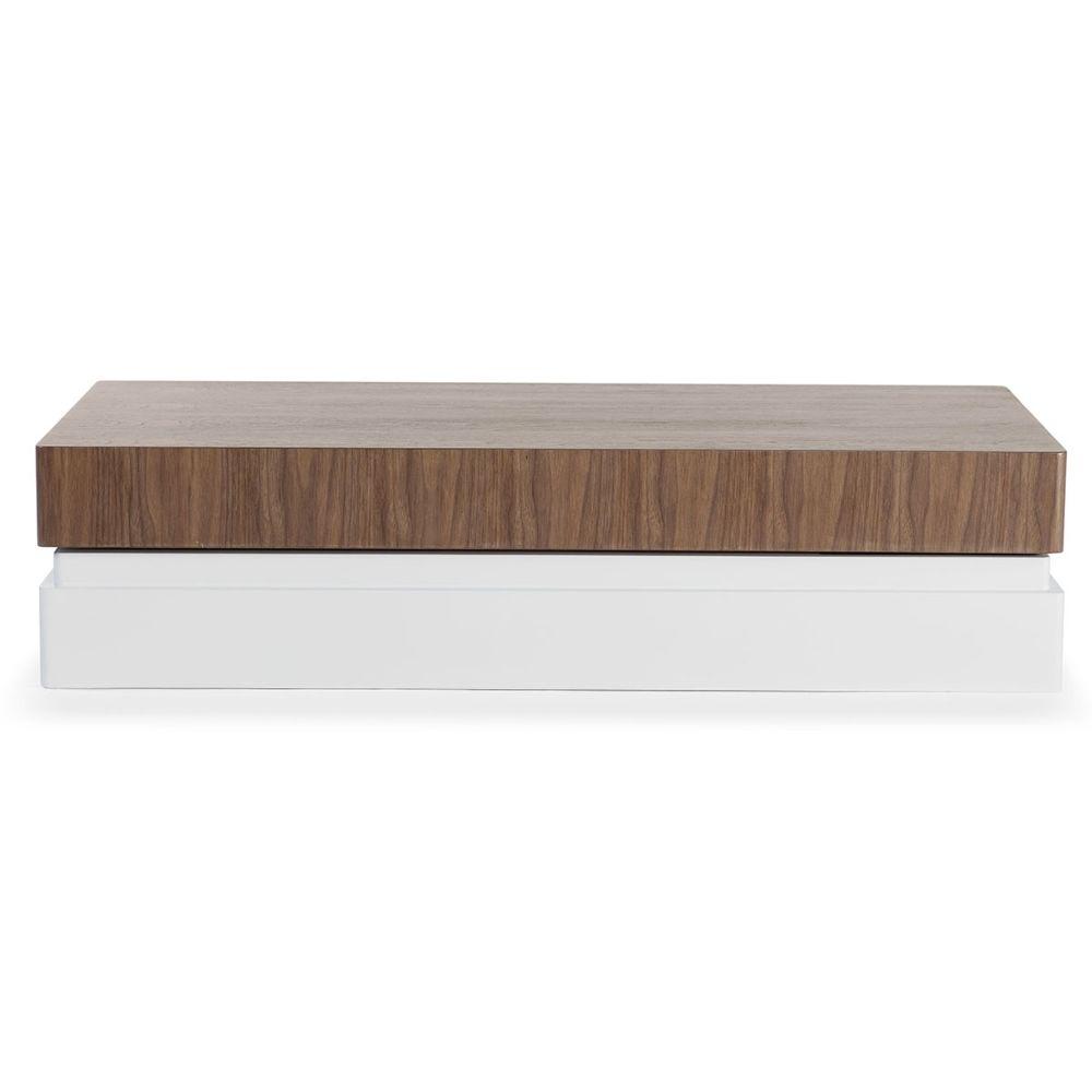 La Maison Du Canapé Table basse bois/laqué SIDONY - Noyer/Blanc - Bois foncé